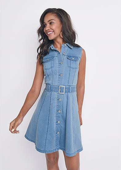Belted A-Line Denim Dress