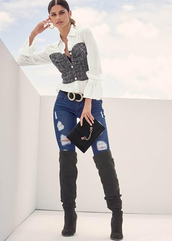 Ripped Skinny Jeans,Tweed Twofer Blouse,Puff Sleeve Sweater,Off The Shoulder Top,Sexy Ankle Strap Heels,Twist Hoop Earrings,Beaded Drop Earrings,Studded Round Crossbody,Slouchy Block Heel Boots,Animal Chain Crossbody Bag,Pearl Double Buckle Belt,Pearl Hoop Earrings