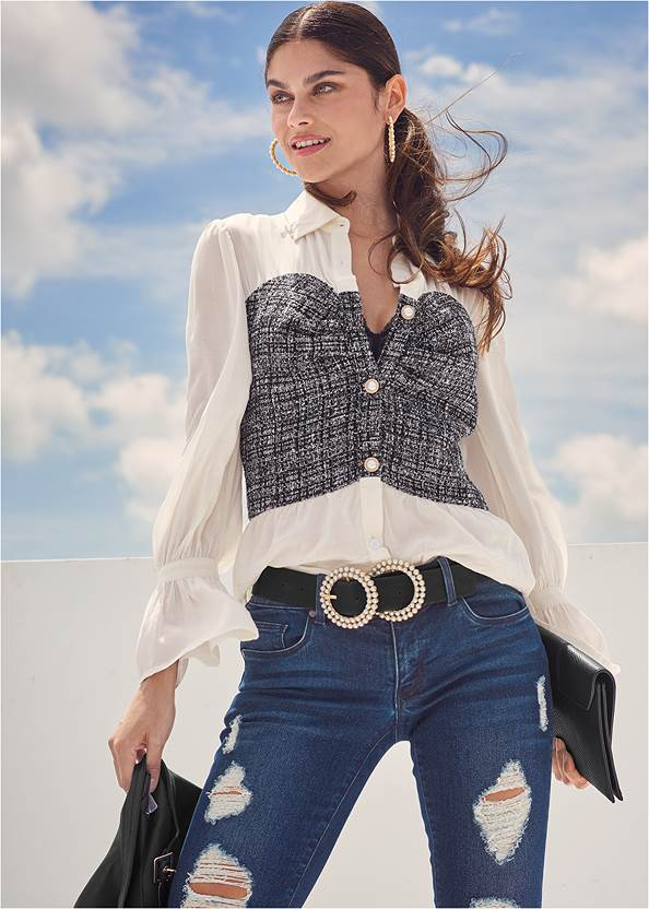 Tweed Twofer Blouse,Ripped Skinny Jeans,Studded Hem Jeans,Pearl™ By Venus Cami Bra,Faux Leather Lace Up Jacket,Slouchy Block Heel Boots,Pearl Hoop Earrings,Animal Chain Crossbody Bag,Pearl Double Buckle Belt