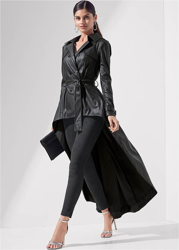 High Low Faux Leather Trench Coat,Pull On Faux Suede Skinny Pants,Mid Rise Slimming Stretch Jeggings,Sexy Ankle Strap Heels,Animal Chain Crossbody Bag,Tiger Detail Earrings,Rhinestone Fringe Earrings