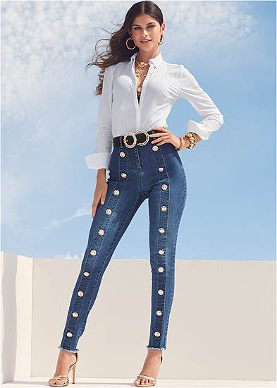 Button Detail Skinny Jeans
