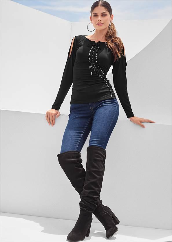 Lace-Up Cold-Shoulder Top,Mid Rise Color Skinny Jeans,Faux Leather Pants,Rhinestone Fringe Earrings,Twist Hoop Earrings