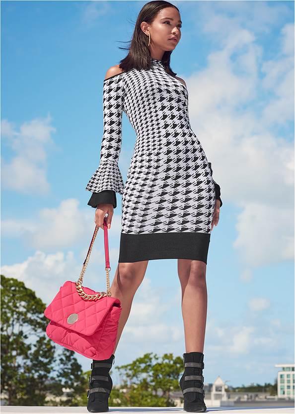 Color Block Sweater Dress,Pearl By Venus® Strapless Bra,Buckle Detail Booties,Tiger Detail Earrings