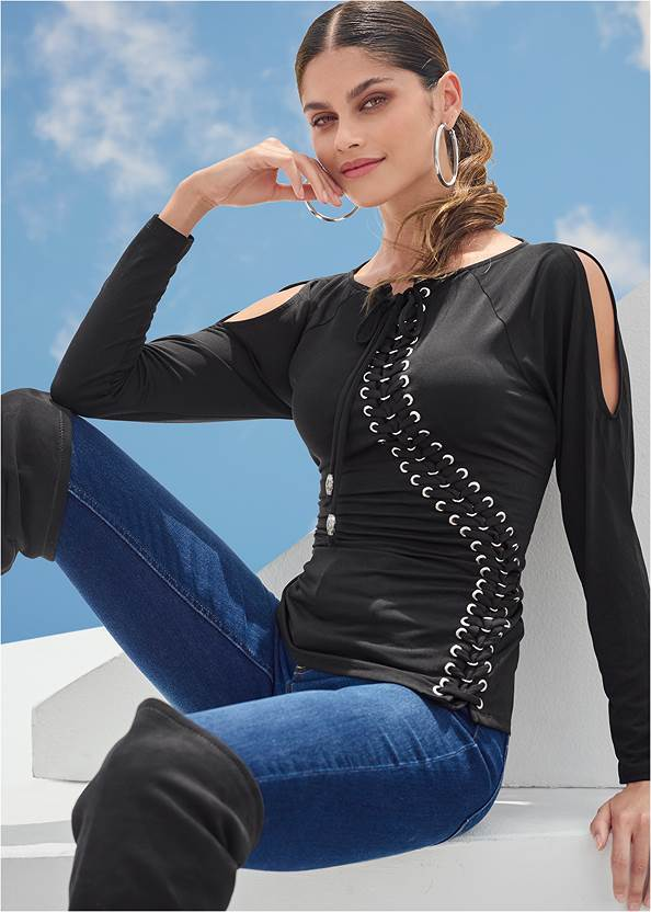 Alternate View Lace-Up Cold-Shoulder Top