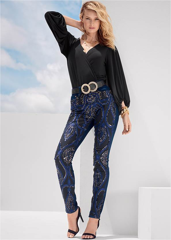 Beaded Skinny Jeans,V-Neck Cold Shoulder Top,Mesh Detail Top,Chunky Stretch Bracelet Set,Sexy Ankle Strap Heels,Animal Chain Crossbody Bag,Mixed Earring Set,Sexy Slingback Heels,Pearl Double Buckle Belt,Pearl Multi Chain Necklace