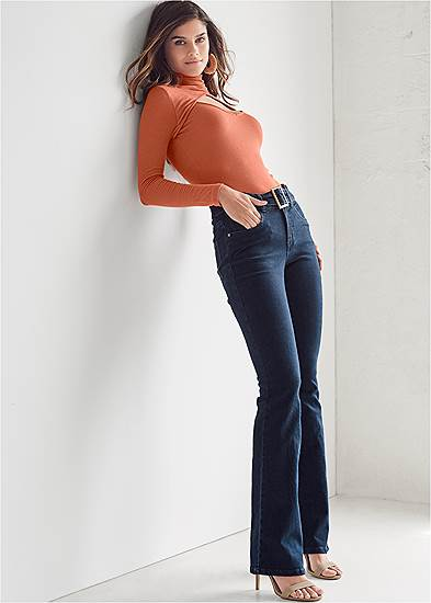 Belted Bootcut Jeans