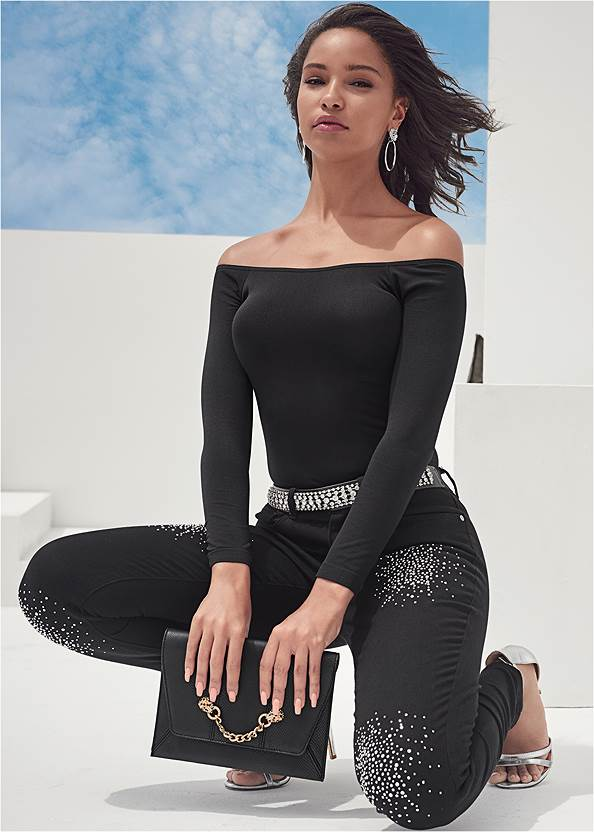 Off-The-Shoulder Top,Rhinestone Detail Jeans,Bum Lifter Jeans,Mid Rise Color Skinny Jeans,Sexy Ankle Strap Heels,High Heel Strappy Sandals,Tiger Detail Earrings,Animal Chain Crossbody Bag