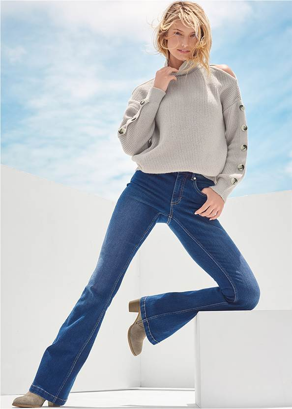 Casual Bootcut Jeans,Cold Shoulder Sweater,Eyelet Boho Top,Mid Rise Color Skinny Jeans,Bum Lifter Jeans,Faux Suede Stitched Booties,Whipstitch Peep Toe Booties,High Heel Strappy Sandals,Boho Chandelier Earrings,Mixed Earring Set