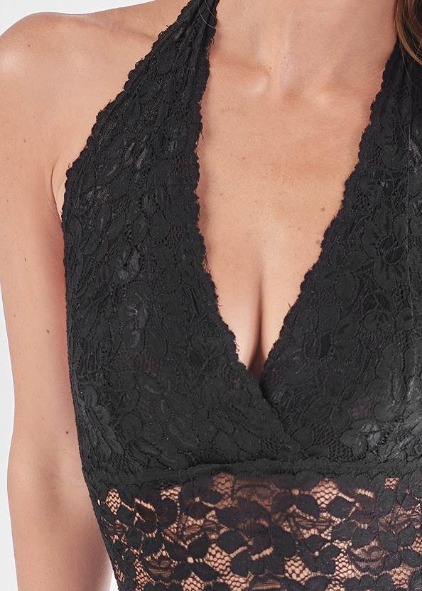 Detail front view All Over Lace Plunge Teddy