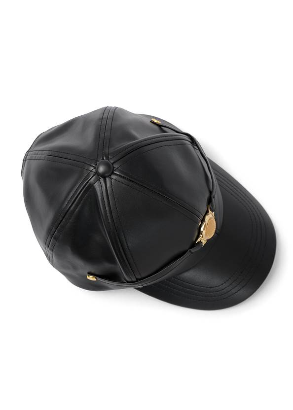 Front View Gold Coin Faux Leather Hat