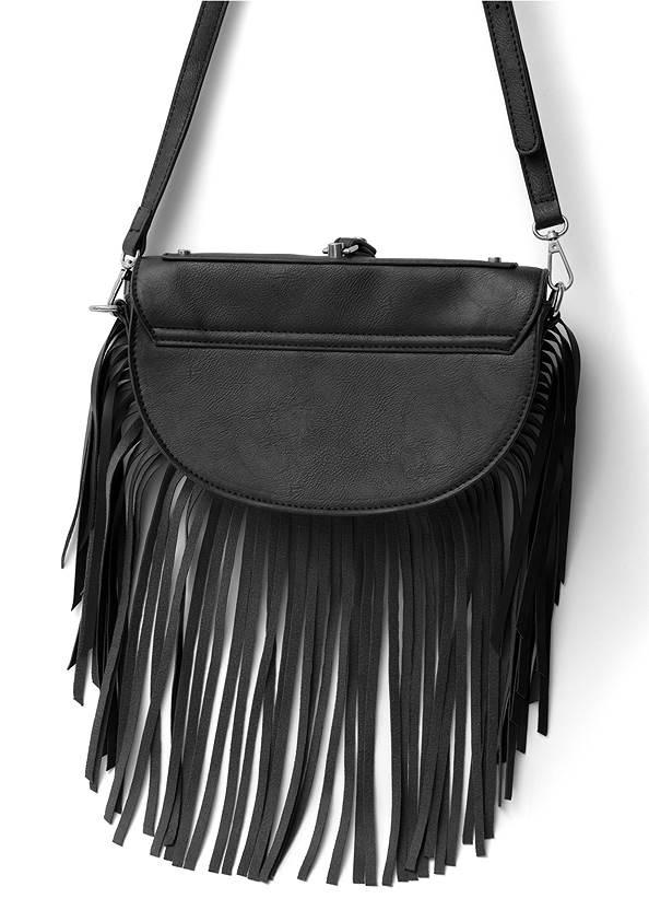 Flatshot back view Fringe Wristlet Bag