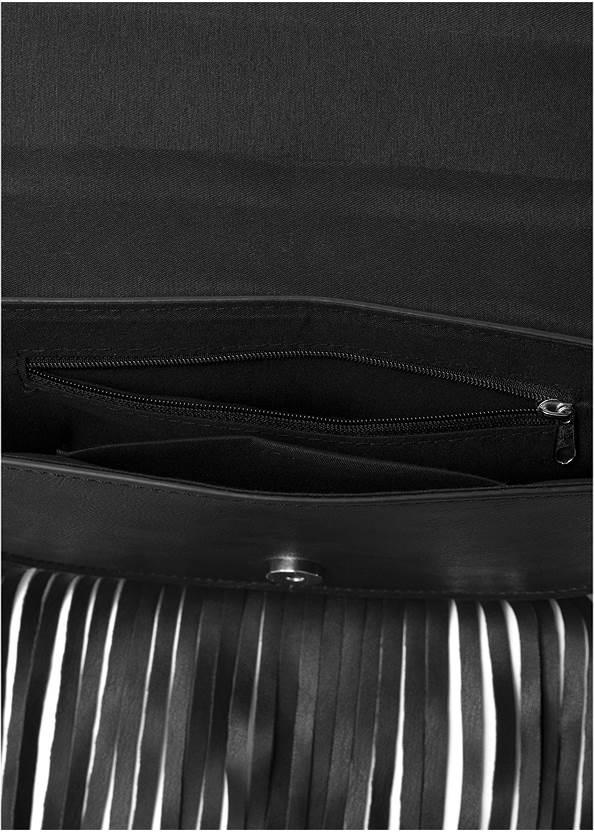 Flatshot open view Fringe Wristlet Bag