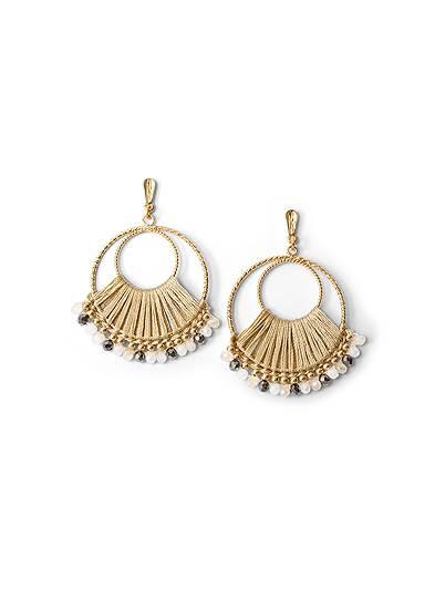 Beaded Thread Hoop Earrings