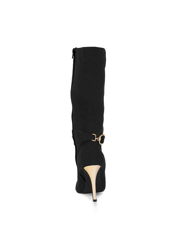 Shoe series back view Gold Statement Heel Boots