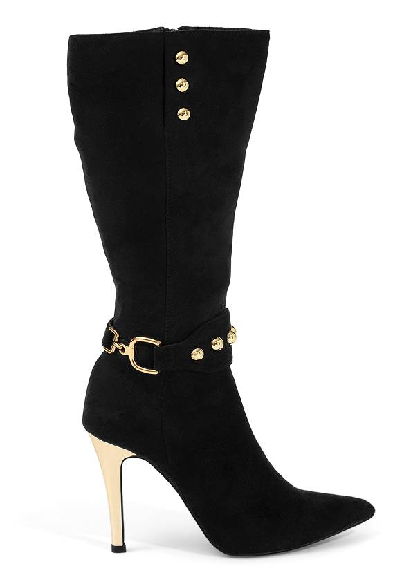Shoe series side view Gold Statement Heel Boots