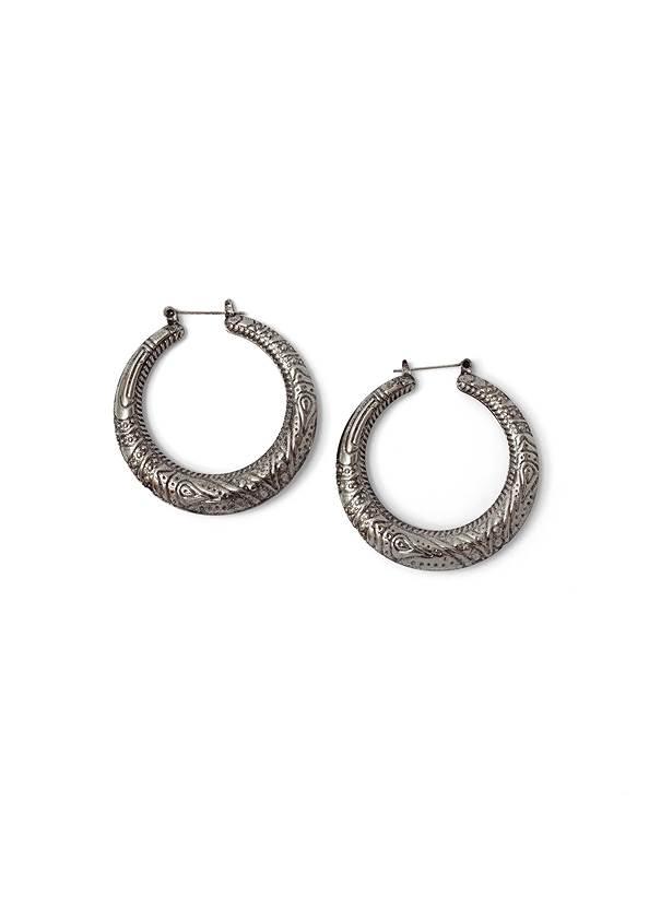 Etched Boho Hoop Earrings,Off-The-Shoulder Maxi Dress,Fringe Wristlet Bag