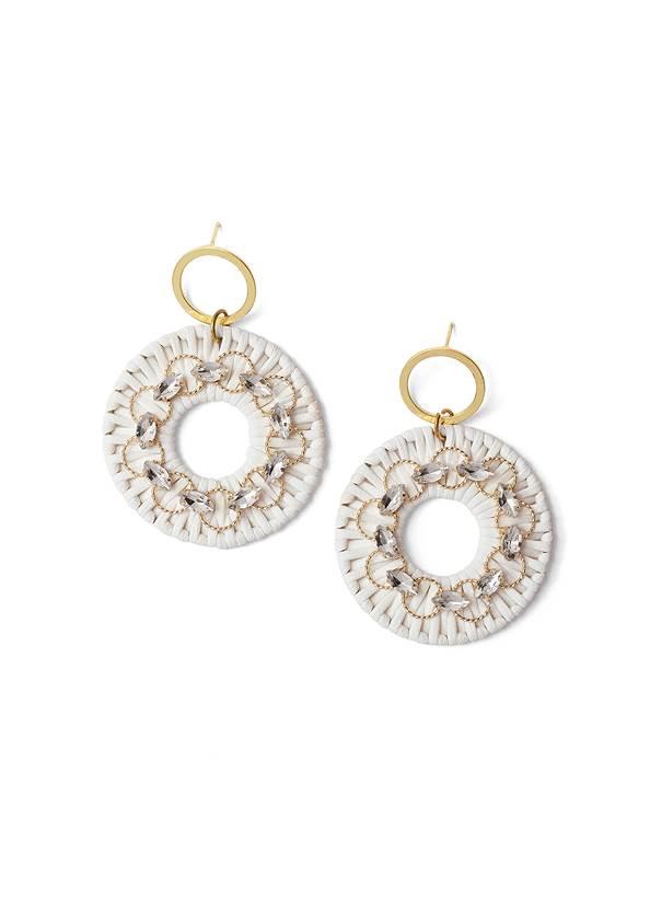 Raffia Bling Hoop Earrings