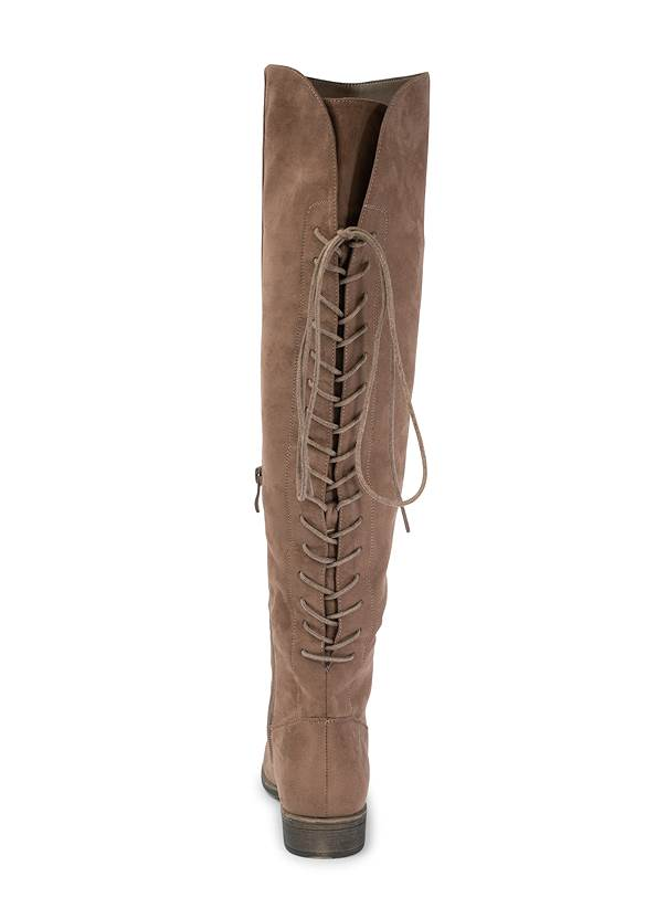 Back Lace Up Flat Boots