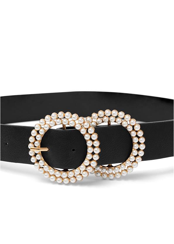 Pearl Double Buckle Belt,Button Up Bodysuit,Sexy Ankle Strap Heels,Pearl Hoop Earrings,Pearl Multi Chain Necklace