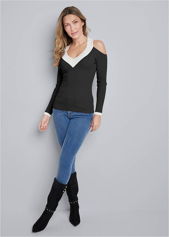 Full Front View Ribbed Cold Shoulder V Neck Sweater