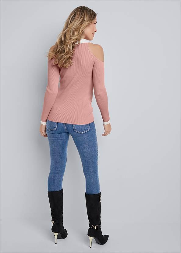 Back View Ribbed Cold Shoulder V Neck Sweater