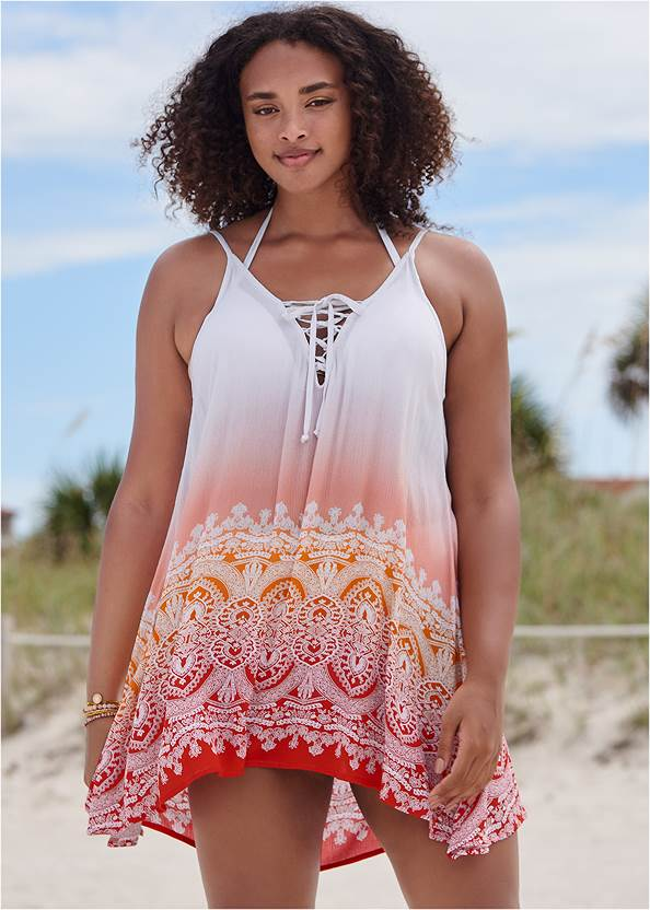 Lace Up Front Cover-Up Dress,Enhancer Triangle Top ,Full Coverage Mid Rise Hipster Bikini Bottom,Slimming Bandeau One-Piece