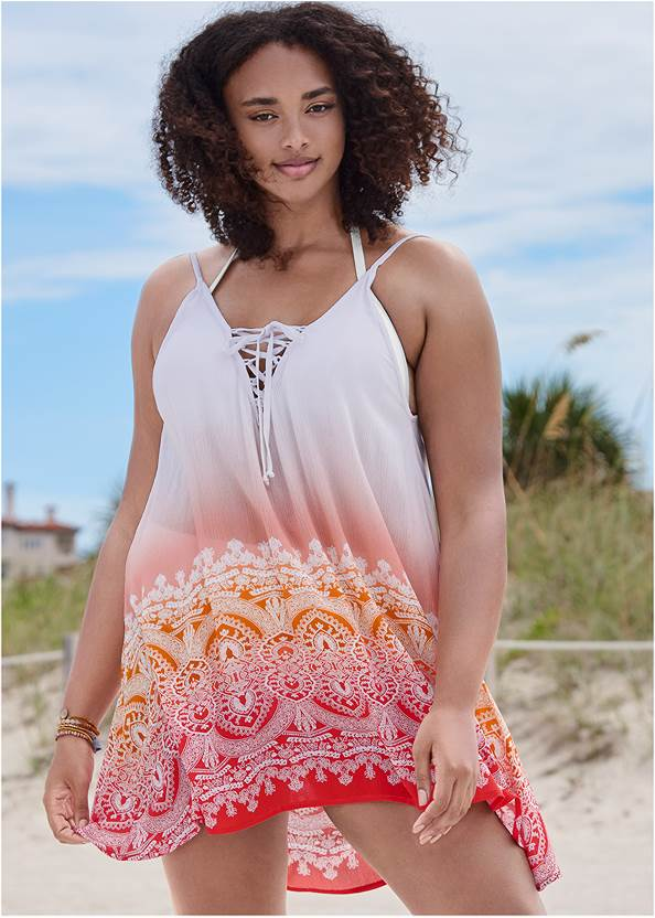 Alternate View Lace Up Front Cover-Up Dress