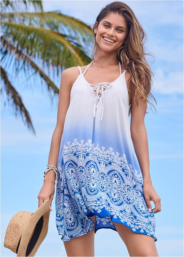 Lace Up Front Cover-Up Dress,Triangle String Bikini Top,Mid Rise Hipster Classic Bikini Bottom,Slimming Bandeau One-Piece