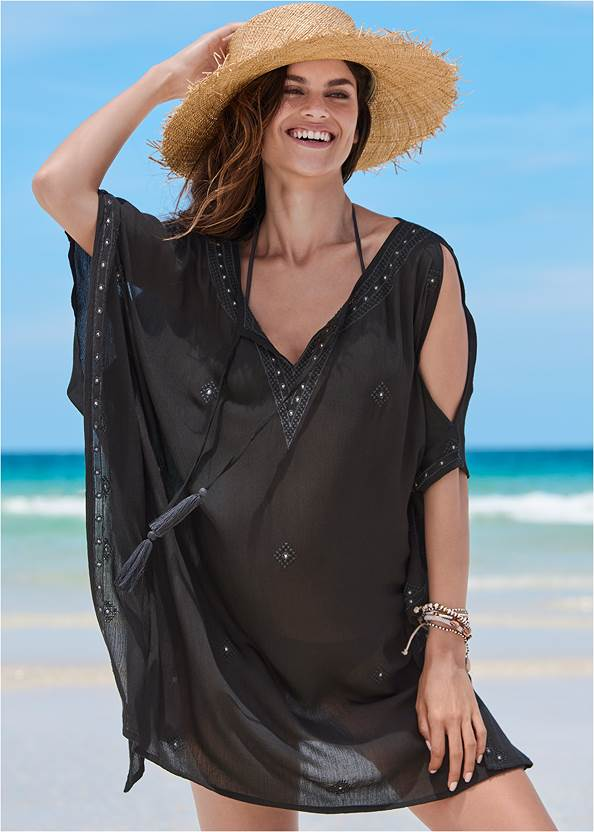 Boho Beach Tunic Cover-Up,Triangle String Bikini Top,String Side Bikini Bottom,Pleated Halter One-Piece