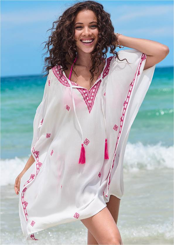 Boho Beach Tunic Cover-Up,Triangle String Bikini Top,String Side Bikini Bottom,Capri Strap Back Monokini