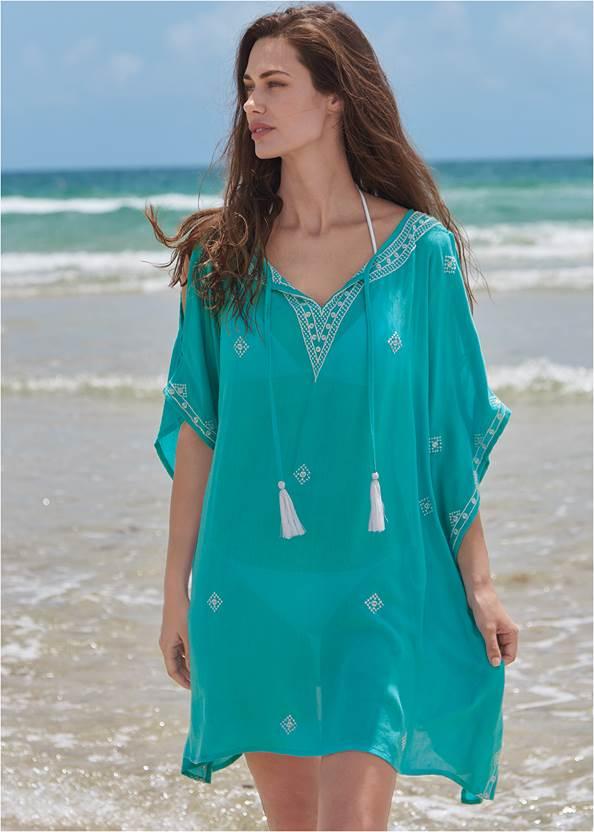 Boho Beach Tunic Cover-Up,Triangle String Bikini Top,String Side Bikini Bottom,Blanc V-Neck One-Piece