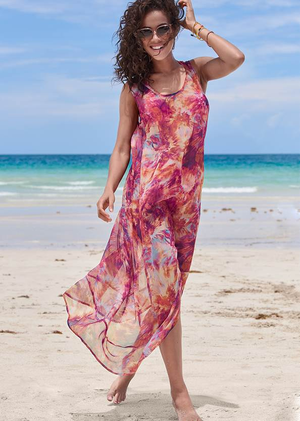 High-Low Cover-Up Dress,Triangle String Bikini Top,Mid Rise Hipster Classic Bikini Bottom