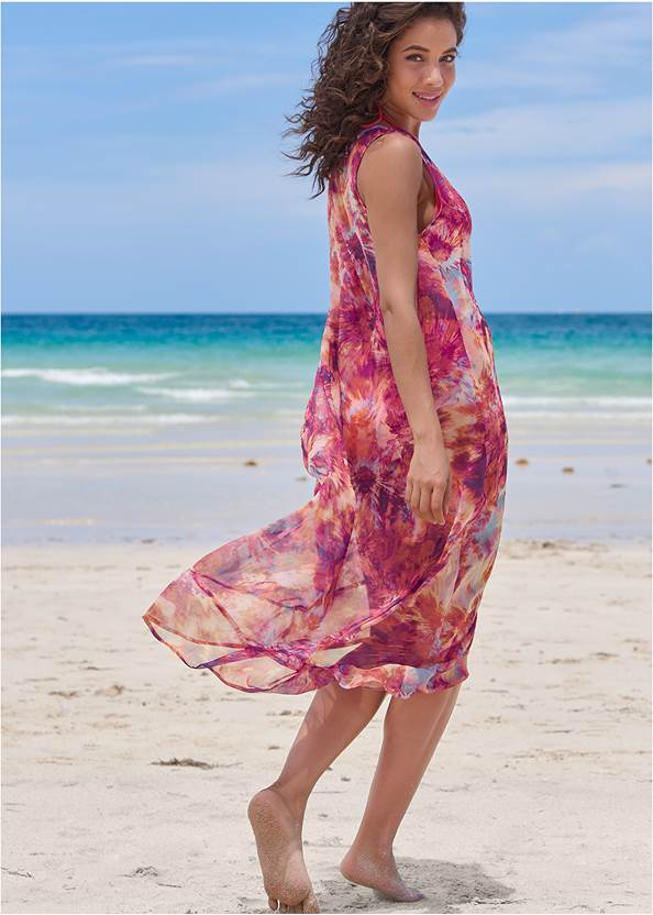 Back View High-Low Cover-Up Dress