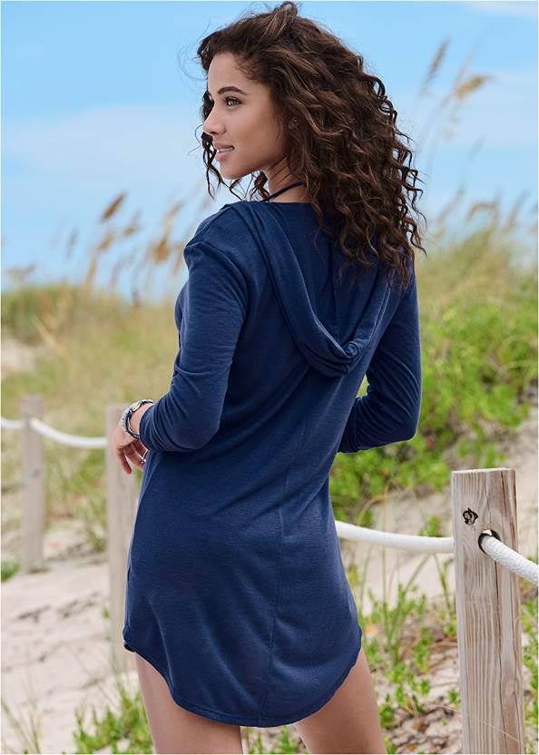 Full back view Long Sleeve Hooded Beach Dress