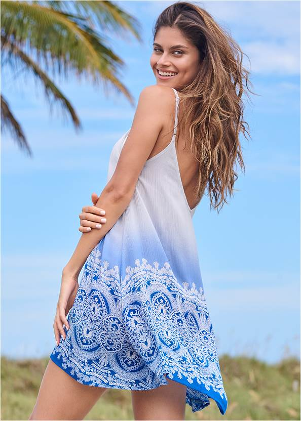Back View Lace Up Front Cover-Up Dress