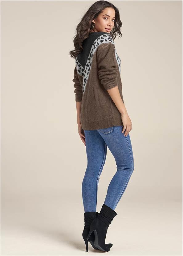 BACK View Leopard Stripe Sweater