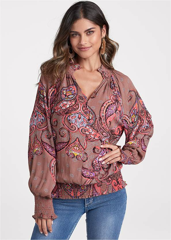 Paisley Top,Casual Bootcut Jeans,Mixed Earring Set,Braided Double Strap Mules,Sexy Slingback Heels
