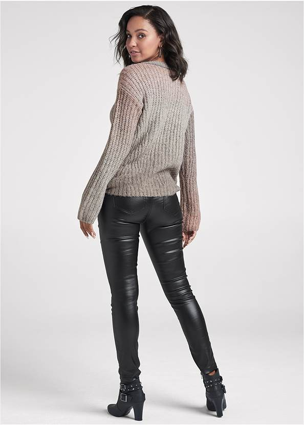 Back View Ombre Knit V-Neck Sweater