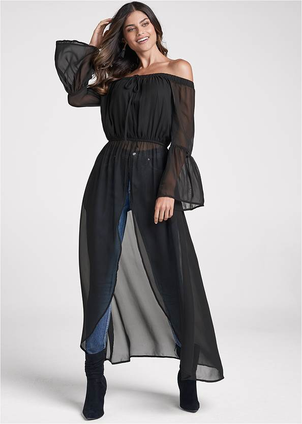 Off-The-Shoulder Maxi Top,Bum Lifter Jeans,Floral Applique Skinny Jeans,Knotted Slouchy Boots,Coin Tassel Earrings,Ring Detail Oversized Bag