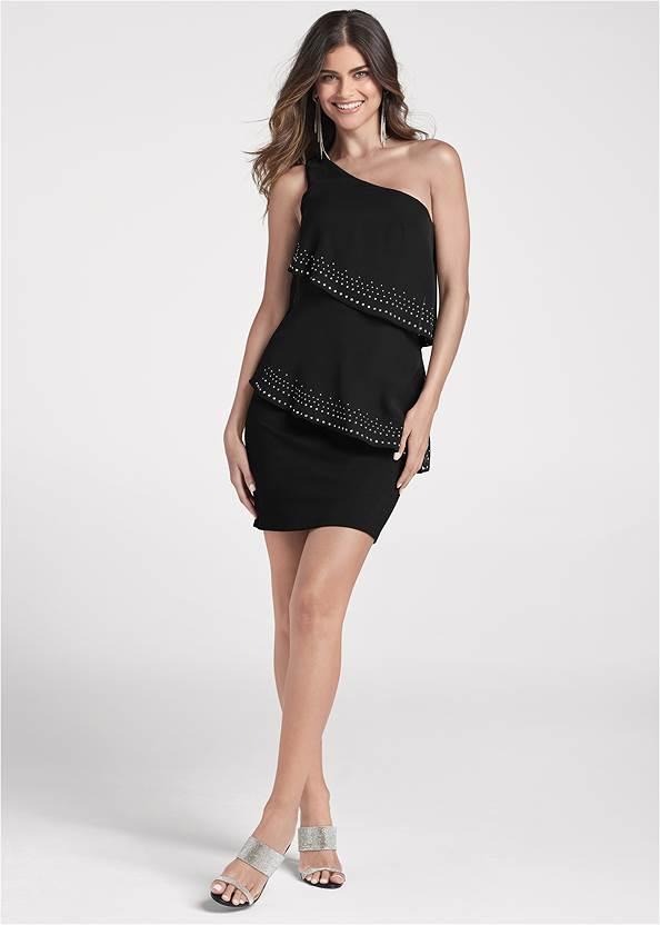 Alternate View One-Shoulder Embellished Dress