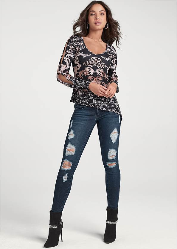 Full front view Cold Shoulder Print Top