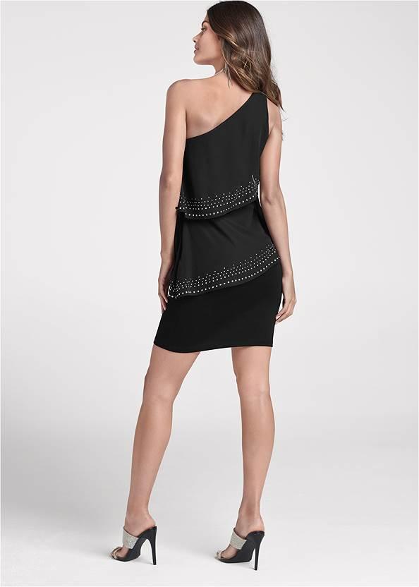 Back View One-Shoulder Embellished Dress