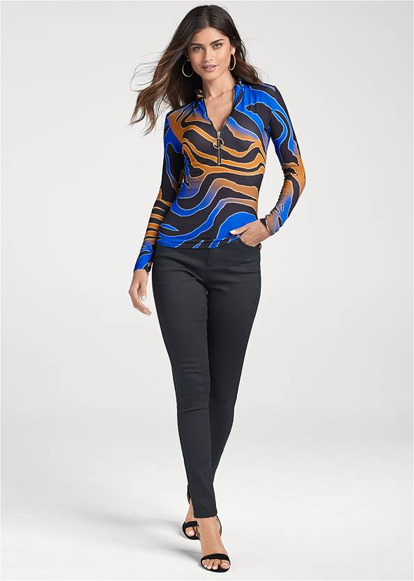 Full front view Multicolor Tiger Print Top
