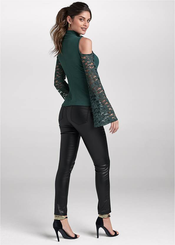 BACK View Lace Sleeve Surplice Top