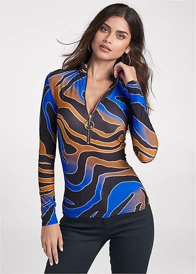 Multicolor Tiger Print Top