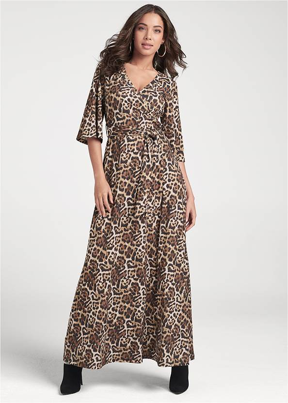 Animal Print Maxi Dress,Animal Chain Crossbody Bag