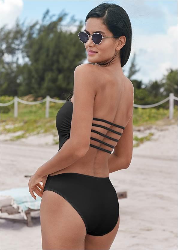 Capri Strap Back Monokini,Strapless Jumpsuit,Flirty Romper Cover-Up,Jeweled Chain Strap Sandals