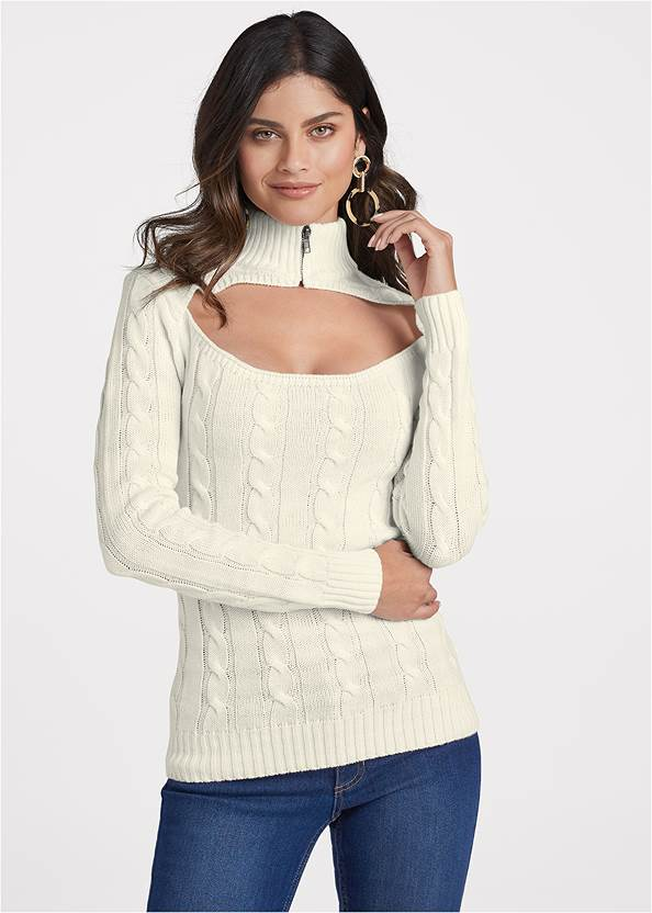 Zip-Up Turtleneck,Mid Rise Color Skinny Jeans,Lace Up Tall Boots,Circle Drop Earrings