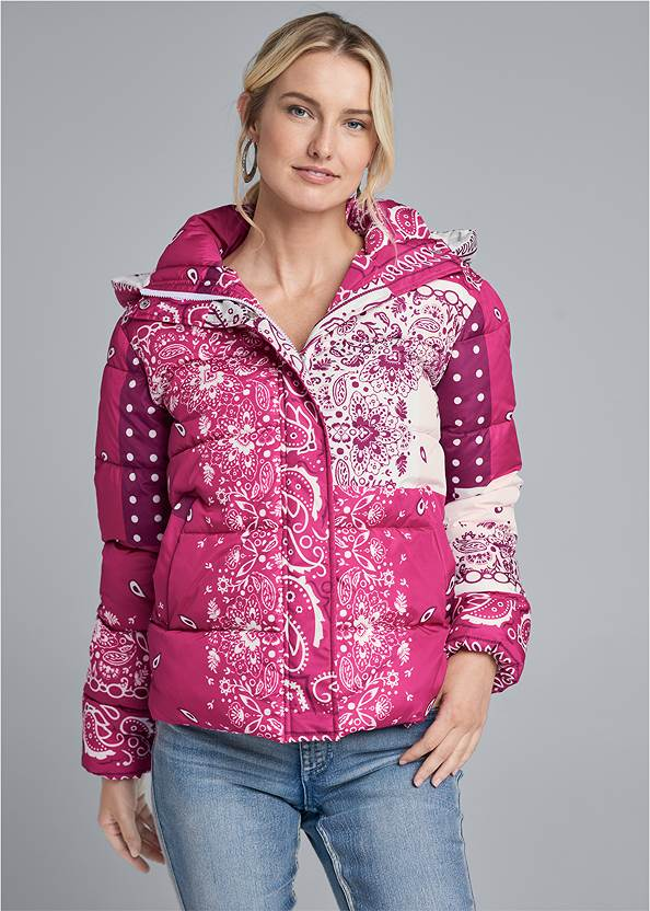 Cropped Front View Paisley Print Puffer Jacket