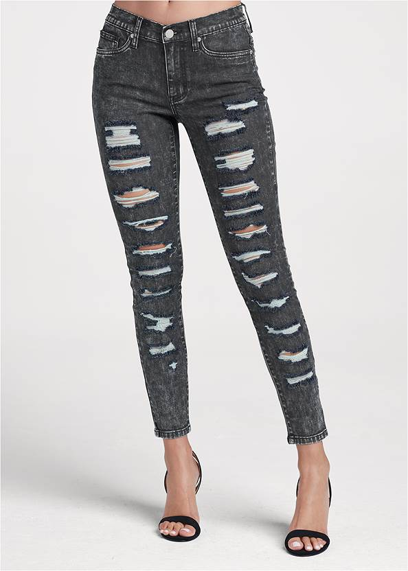 Waist down back view Ripped Acid Wash Jeans
